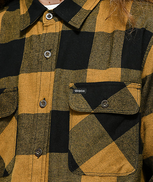Brixton Bowery Gold & Black Flannel Shirt