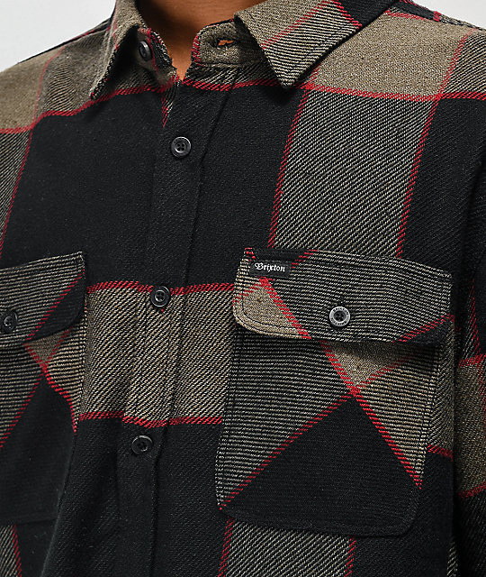 Brixton Bowery Grey & Charcoal Flannel Shirt