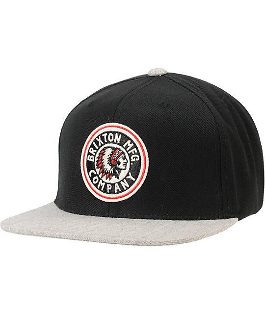 c91a0ece84 Brixton Burn Black   Grey Snapback Hat