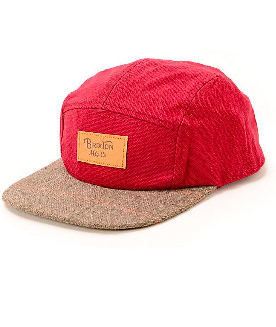 0f7010da591 Brixton Cavern Red 5 Panel Hat