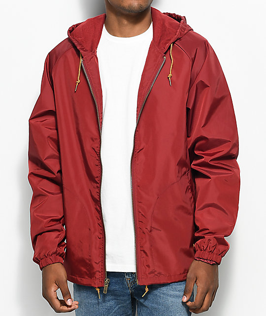 Brixton Claxton Burgundy Hooded Windbreaker Jacket ...