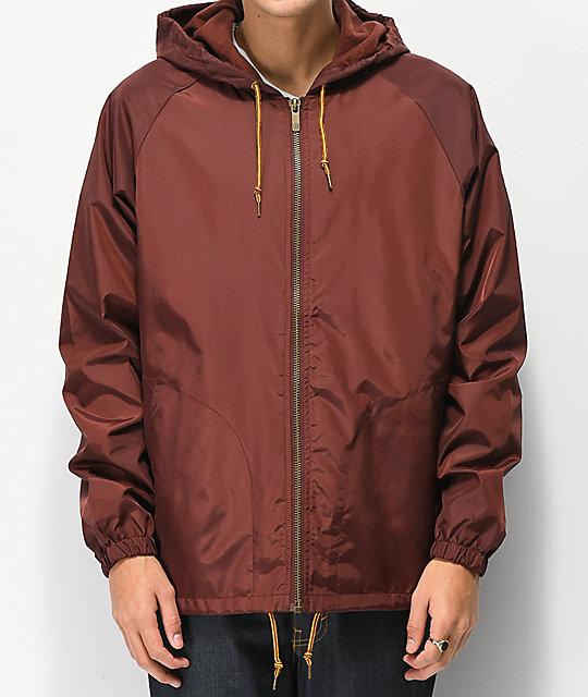 Brixton Claxton Chestnut Red Windbreaker Jacket  c29fe99484f
