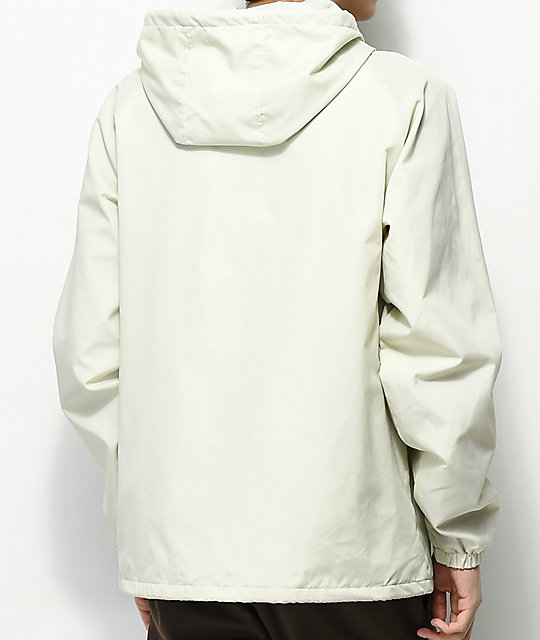 Brixton Claxton Off-White Hooded Windbreaker Jacket
