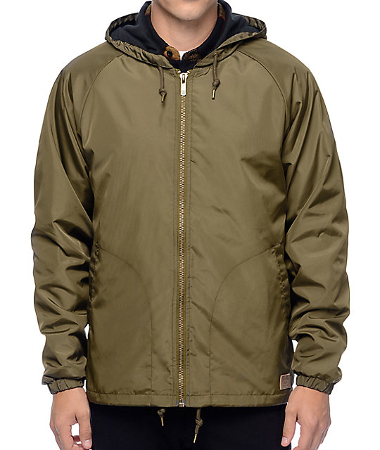 Brixton Claxton Olive Hooded Windbreaker Jacket ...