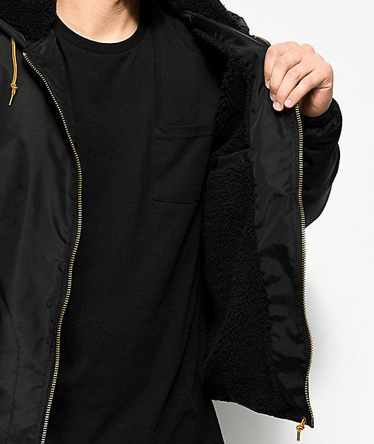 ... Brixton Claxton Sherpa Lined Black Hooded Jacket 7b93d11c704