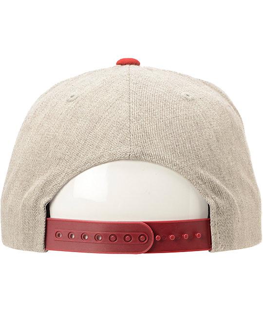 92675e56e95 ... Brixton Cobra Grey   Burgundy Snapback Hat