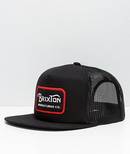 Brixton Grade Black Mesh Trucker Snapback Hat ...