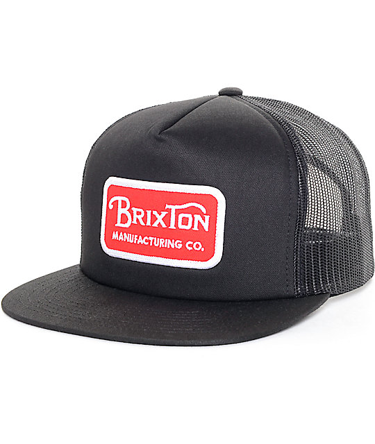 1de7effec Brixton Grade Red & Black Mesh Trucker Hat