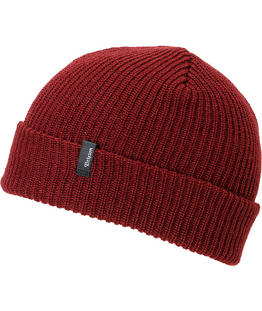 Brixton Heist Burgundy Roll Up Beanie