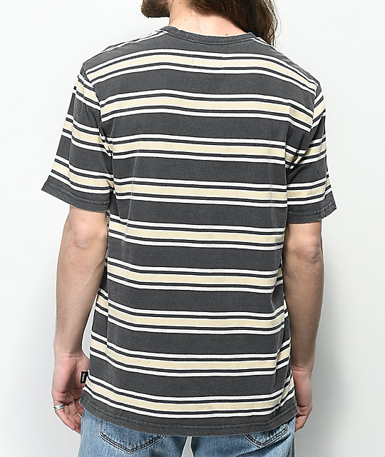 Brixton Hilt Striped Black Wash Knit Shirt