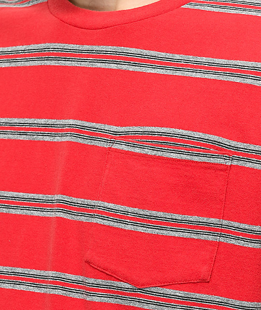 78e2a04e91 Brixton Hilt Washed Red & Black Stripe T-Shirt | Zumiez