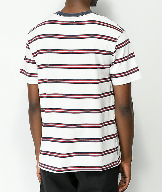 Brixton Hilt White, Red & Navy Striped Worn Washed T-Shirt
