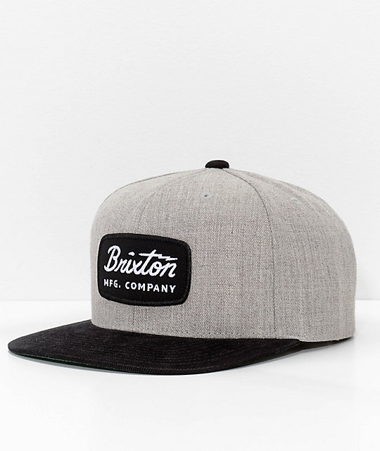 7d3150658a6 Brixton Jolt Grey   Black Corduroy Snapback Hat