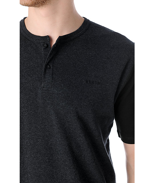 Brixton Lewis Charcoal Henley T-Shirt