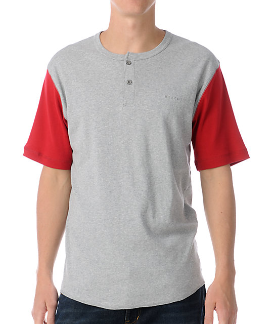 Brixton Lewis Grey & Red Henley T-Shirt