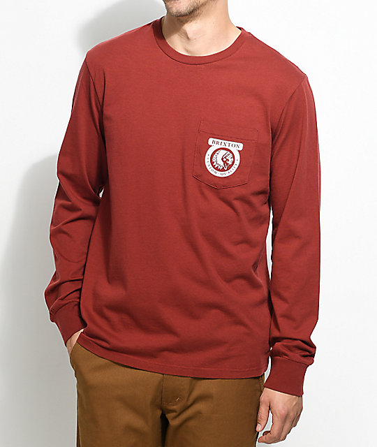 Brixton Native Burgundy Long Sleeve T-Shirt