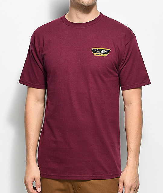 Brixton Normandie Burgundy T-Shirt