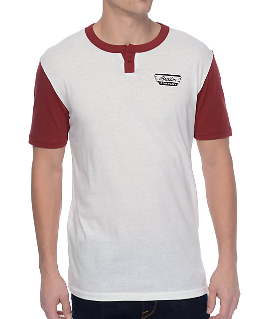 Brixton Normandie White & Burgundy Two Tone Henley T-Shirt