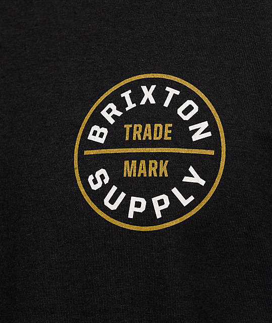 Brixton Oath Black, White & Gold T-Shirt