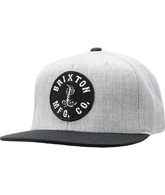 db68a5aaeaf Brixton Oath Grey   Black Snapback Hat