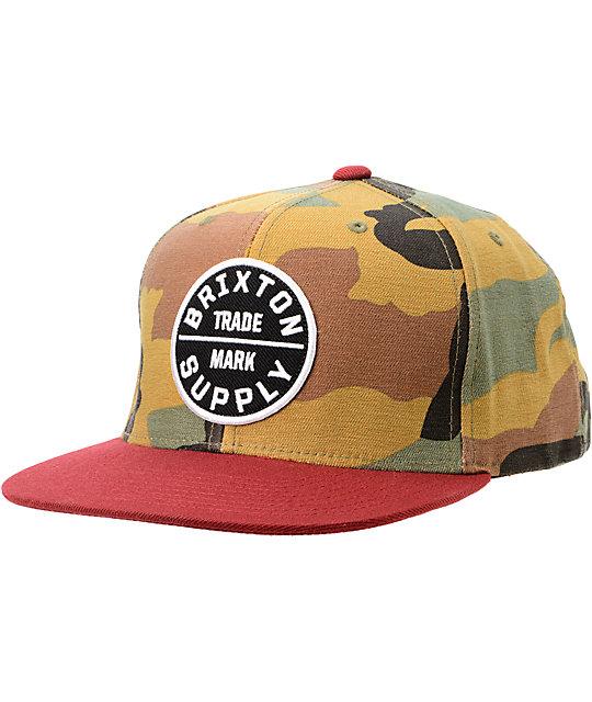 592202a7fd9 Brixton Oath III Camo   Cardinal Red Snapback Hat