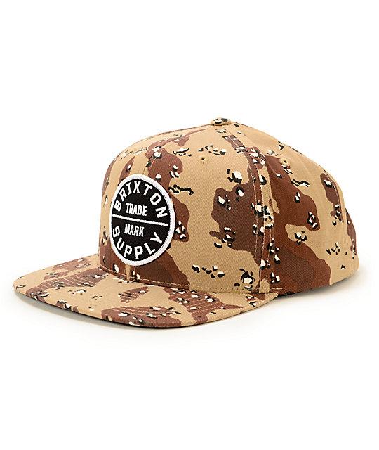 62056803157 Brixton Oath III Desert Camo Snapback Hat