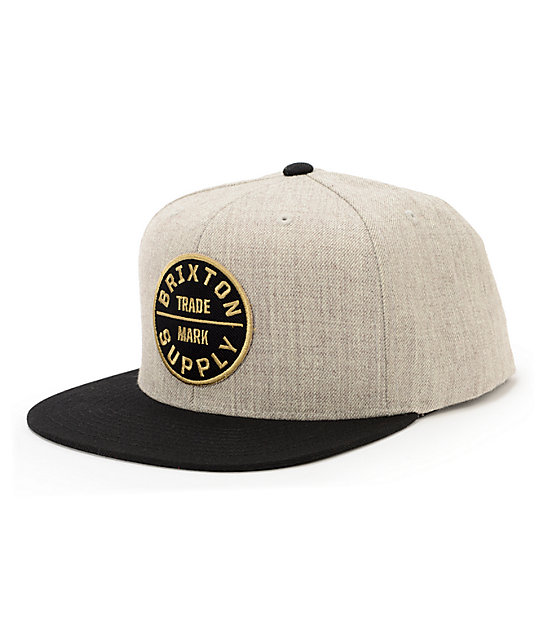 0c1b0a30783 Brixton Oath III Heather Grey   Black Snapback Hat