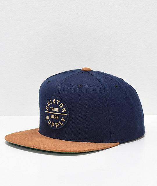 8f9de5ca4d0 Brixton Oath III Tan   Navy Snapback Hat