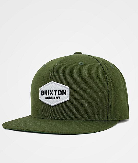 Brixton Obtuse Olive Snapback Hat  e53589da06a