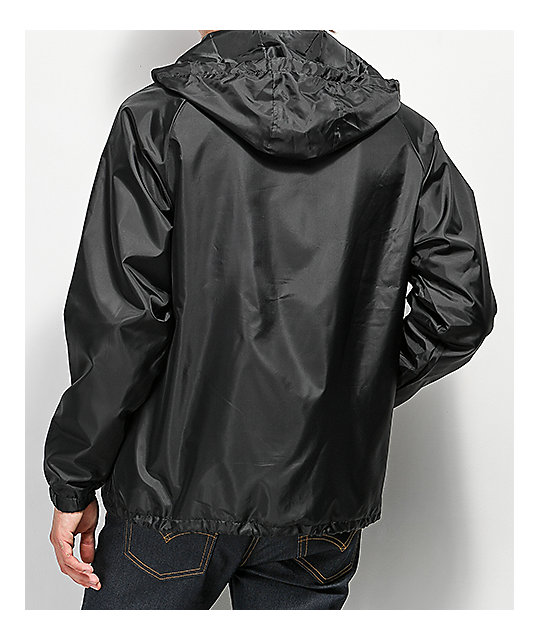 Brixton Palmer Hooded Black Coaches Jacket