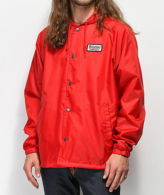 Brixton Palmer Hooded Red Coaches Jacket  3d3e45a2a5d