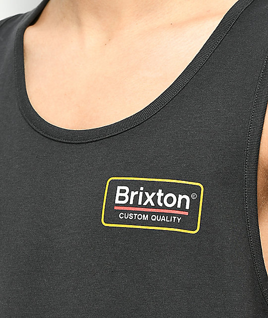 Brixton Palmer II Washed Black & Yellow Tank Top