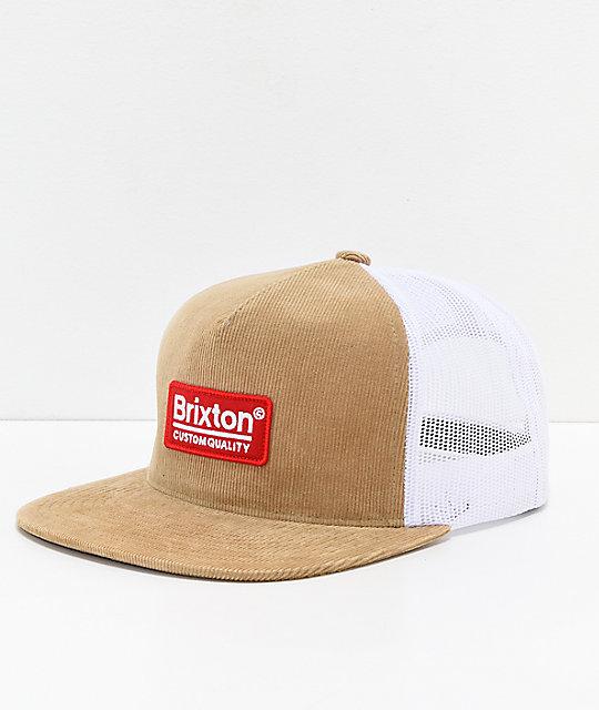 6333d9f4afe6d Brixton Palmer Khaki   White Mesh Snapback Hat