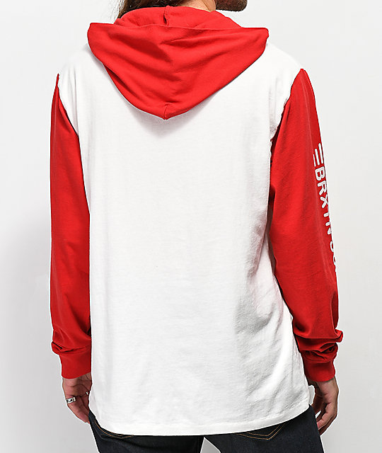 Brixton Pinion Red & Off White Hoodie