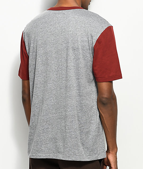 Brixton Potrero Heather Grey & Burgundy Henley T-Shirt