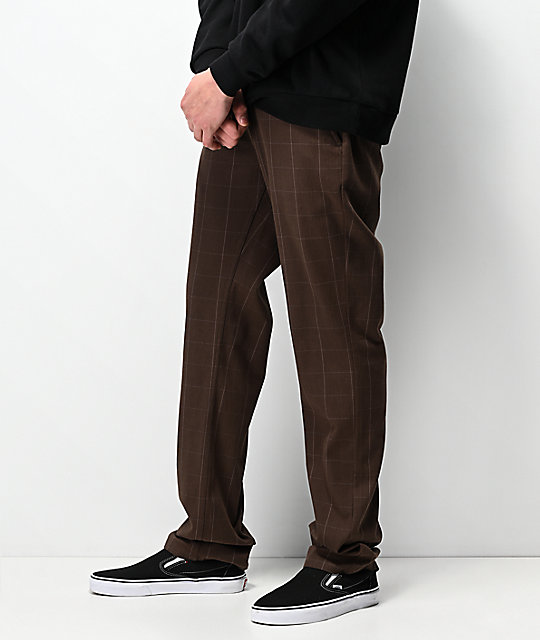 Brixton Reserve Brown Plaid Chino Pants