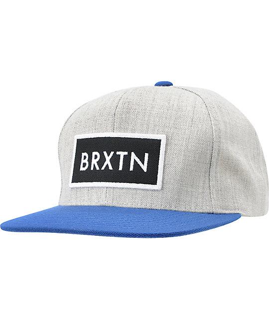 ff75aabcc95 Brixton Rift Heather Grey   Blue Snapback Hat