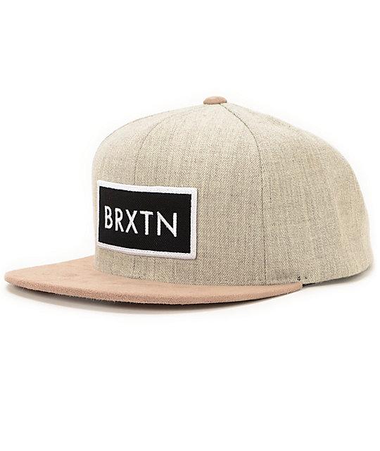 Brixton Rift Heather Grey   Khaki Snapback Hat  dbfb29f5e59