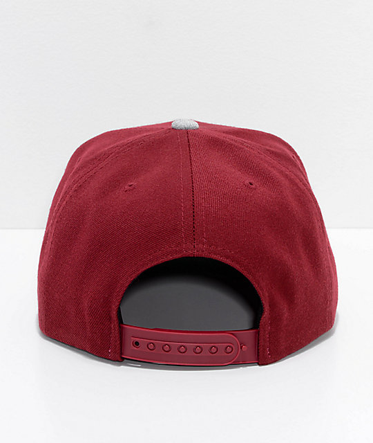 Brixton Rival Burgundy & White Snapback Hat