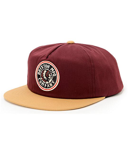 Brixton Rival Maroon   Gold Snapback Hat  bb16a241d18