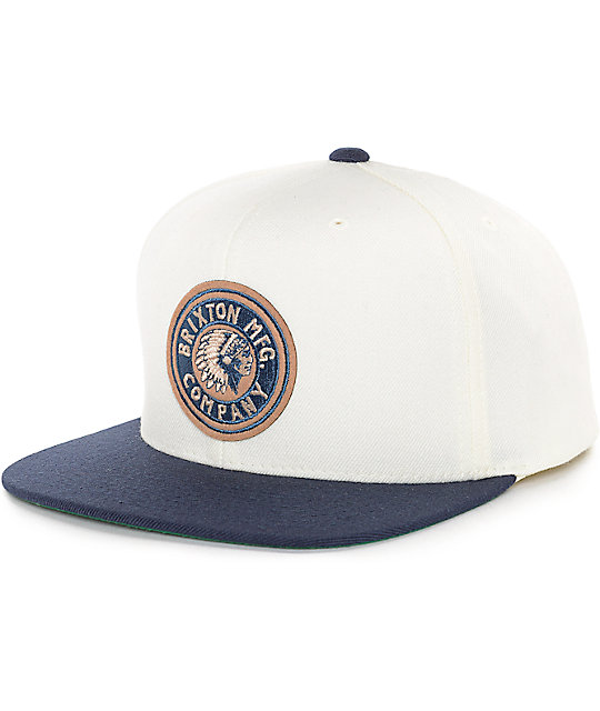 d21f6425f2ef5 Brixton Rival Off-White   Navy Snapback Hat