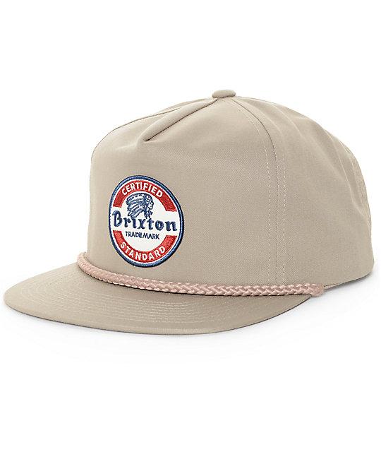 Brixton Soto Dark Khaki Snapback Hat  f86f8aad6f1