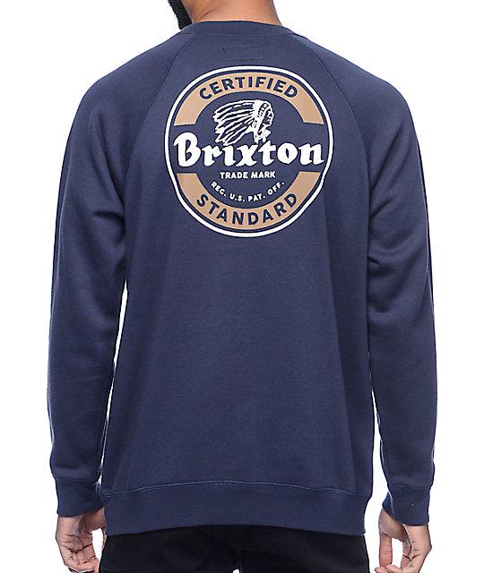 e6525ac85 Brixton Soto Navy Crew Neck Sweatshirt | Zumiez