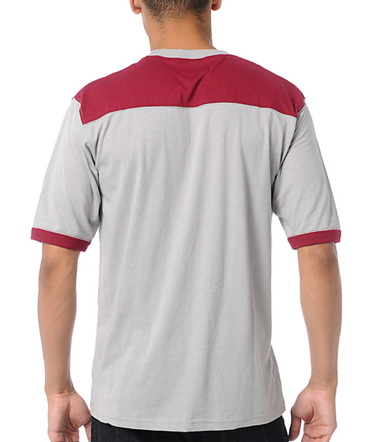 Brixton Stadium Burgundy & Grey Knit T-Shirt