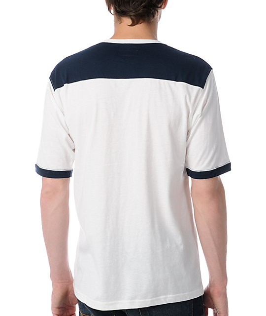 Brixton Stadium White & Navy Knit T-Shirt
