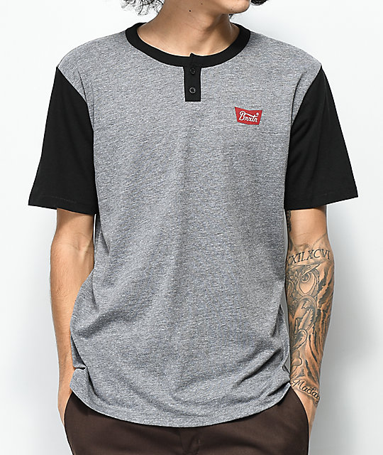 Brixton Stith Heather Grey & Black 2 Tone Henley T-Shirt