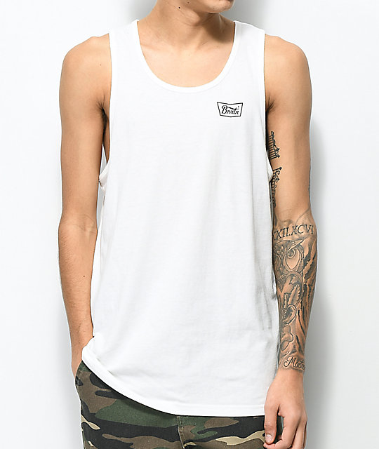 Brixton Stith Off White & Red Tank Top