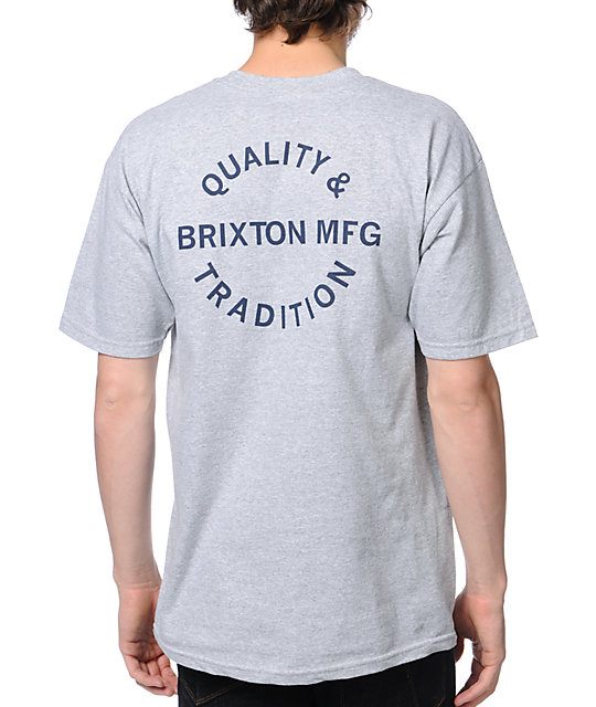 Brixton Tradition Grey Short Sleeve T-Shirt