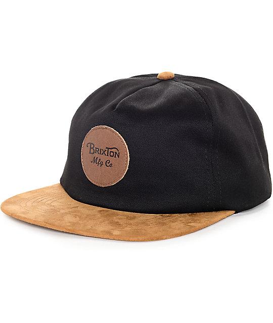 Brixton Wheeler Black   Copper Strapback Hat  8ababda87e9