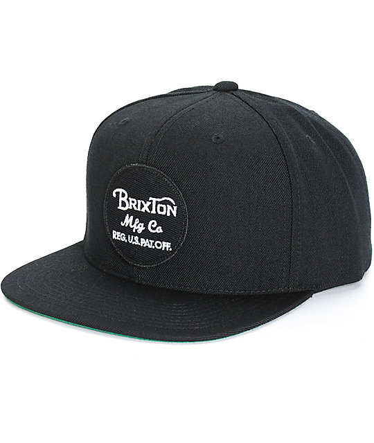 c8ae44320bd Brixton Wheeler Black Snapback Hat